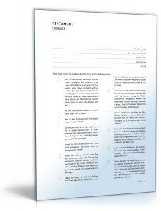 checkliste testament